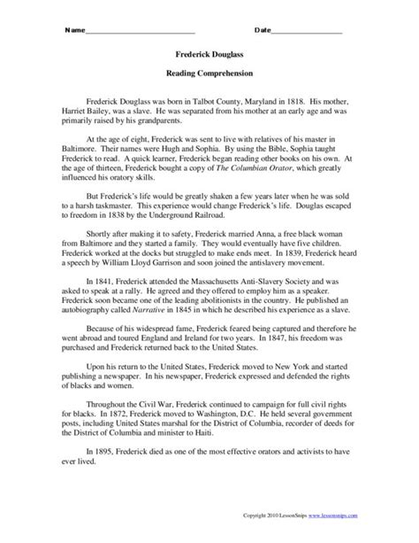 biography lesson plan for 6th grade printables frederick douglass worksheet agariohi