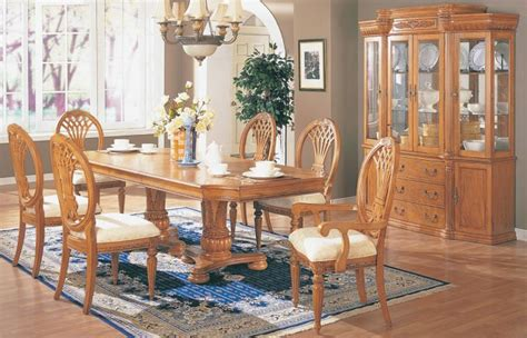 solid oak dining table arrowback chair set by eci