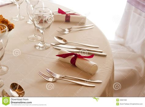 wedding dinner table setting setting on the wedding or dinner table stock photo