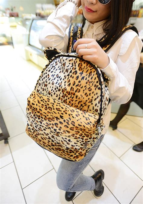 Tas Leopard Bulu Import I8145 tas ransel wanita leopard lucu model terbaru jual