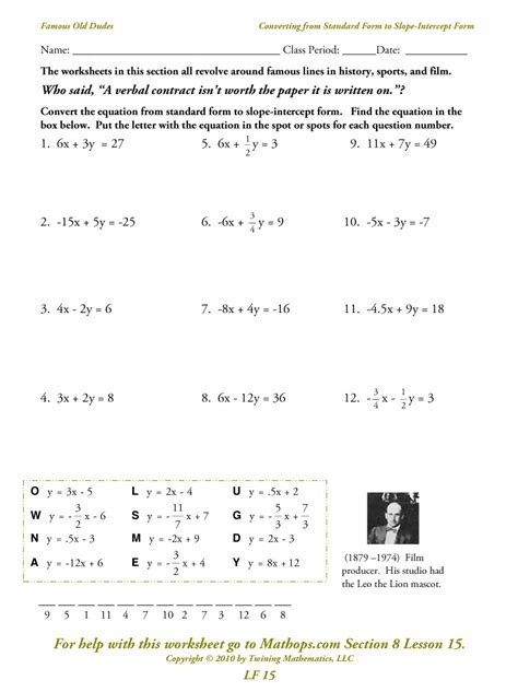Slope And Y Intercept Worksheet by Finding Slope And Y Intercept Worksheet Worksheets