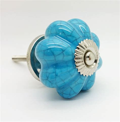 Ceramic Knobs by Light Blue Crackle Ceramic Cupboard Door Knob Handle By