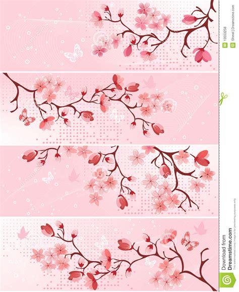Cherry blossom, banner. stock vector. Illustration of