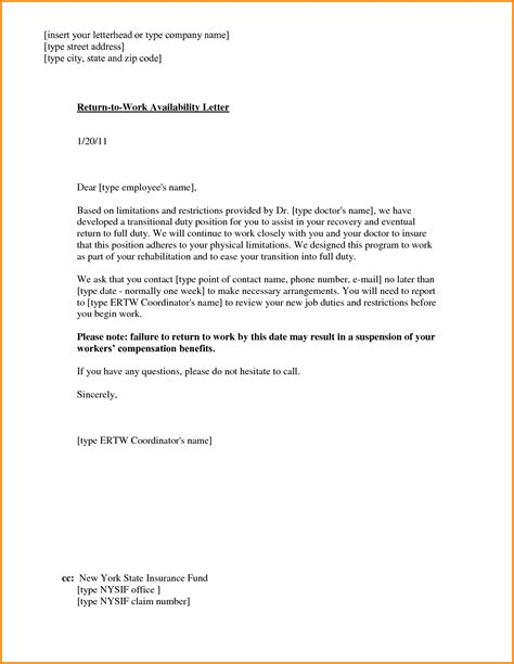 return work letter template 7 return to work letter letter template word