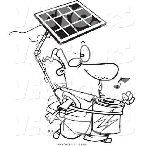 cartoon vector of cartoon solar power guy coloring page