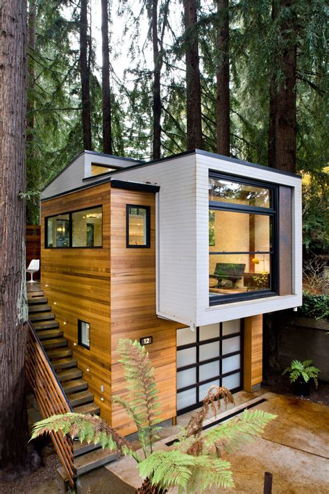 custom modern small house   forest california
