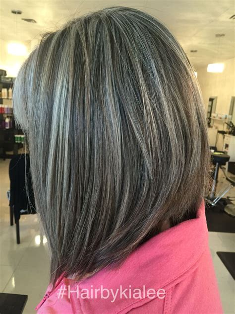 black lowlights in white gray hair natural grey with high and lowlights hairbykialee