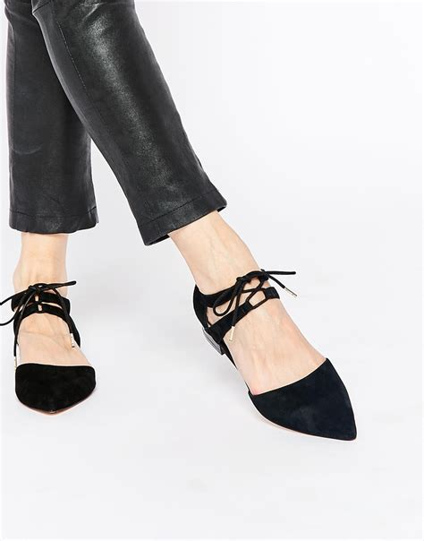black lace flats shoes lyst faith garr black lace up flat shoes in black