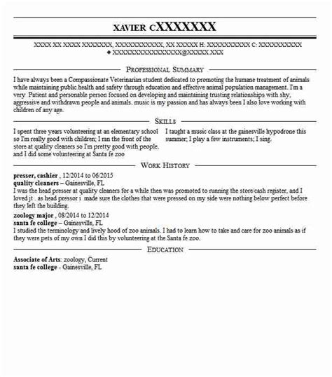 Zoology Resume Exles Zoology Resume Exles Veterinary Resumes Livecareer