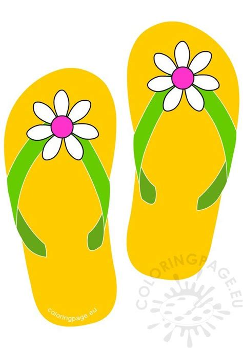 yellow flip flops   daisy flower button coloring page