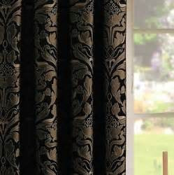 black gold pencil pleat lined ready made curtains jacquard damask modern luxury ebay