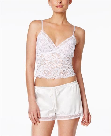 Set Lace Top oscar de la renta lace crop top and satin shorts pajama