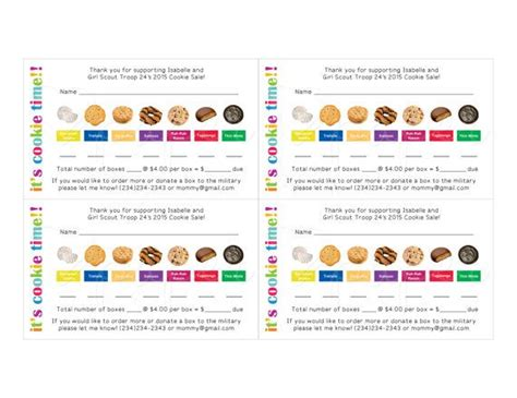 scout cookie receipt template scout cookie order receipt thank you card by