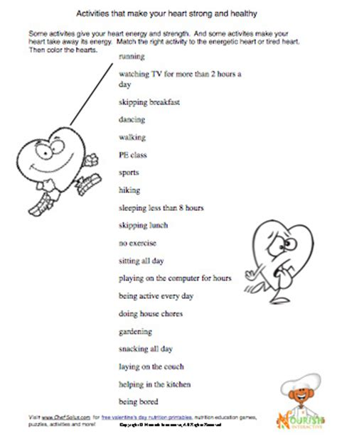 heart health worksheet for kids  being active | some
