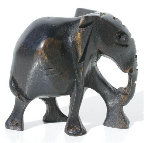 Elephant Handmade - wooden elephant carved miniature animal figurine