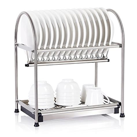 2 tier 18 10 stainless steel dish rack draining drying