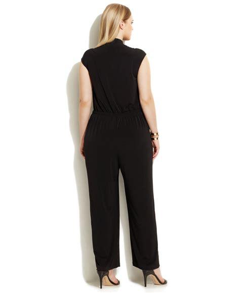 Black Buttoned Culottes Size S 12432 calvin klein plus size wide leg button front jumpsuit in black lyst