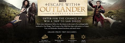 San Diego Comic Con Sweepstakes - win a trip to san diego comic con outlander style outlander tv news
