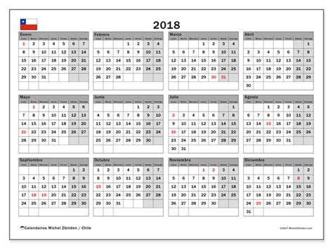 Feriados 2018 Chile Calendario Para Imprimir 2018 D 237 As Feriados En Chile Chile