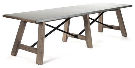 Galvanized Dining Table Calistoga Industrial Rustic Galvanized Steel 12 Person Dining Table Transitional Dining