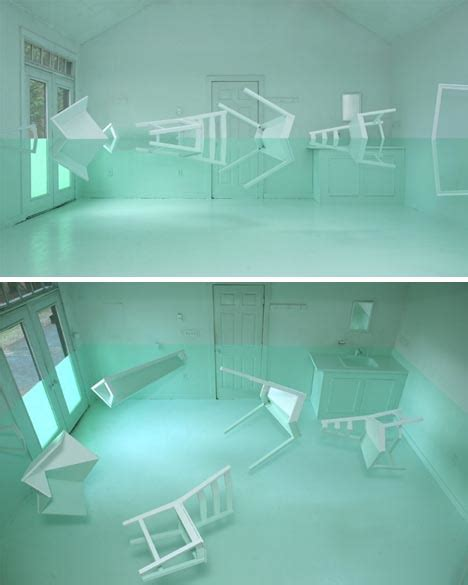 reflected beauty faux floating furniture art installation