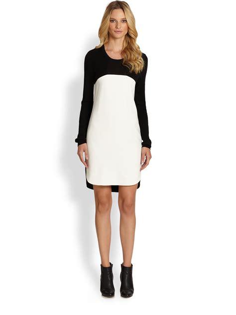 sleeve color block dress dkny sleeve color block dress in white black white
