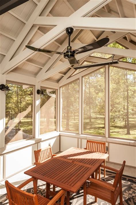 screened porch interior traditional porch