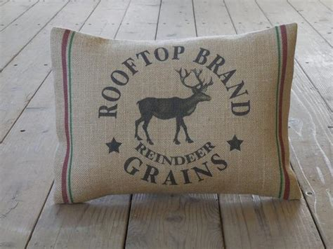 how to geed burlap in a christmas reindeer grains burlap pillow feed sack style