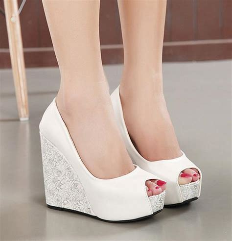 Blue Wedge Heels Wedding by New White Wedge Heel Wedding Shoes Blue Peep Toe