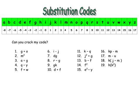 substitution codes algebra level 5 6 by mrbartonmaths