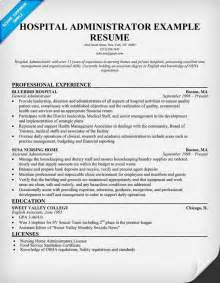 Hospital Administrator Sle Resume by Hospital Administrator Resume Resumecompanion Hma Resume