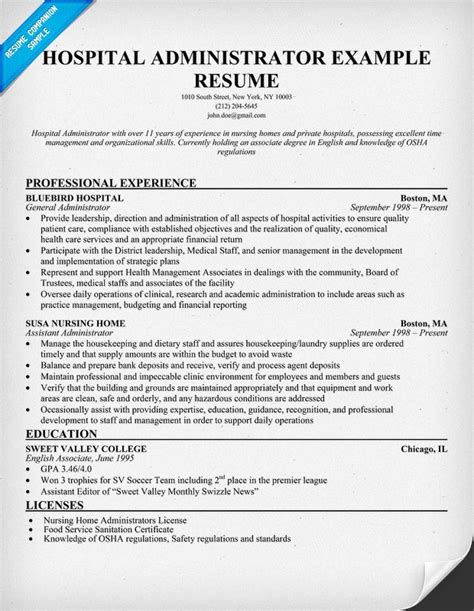 Resume For Hospital hospital administrator resume resumecompanion