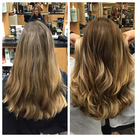 loose curl partial perm ashley gray joelles salon before after client balayage