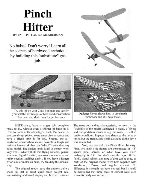 Pinch Hitters by Volar Libremente Free Flight Models Airplanes Pinch
