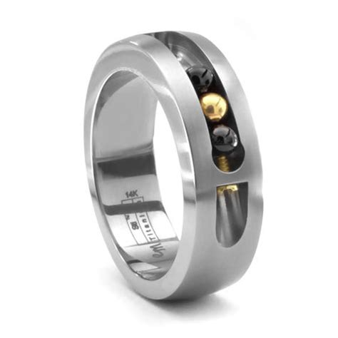 active s titanium moving bead ring by edward mirell