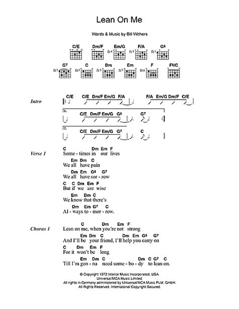printable lyrics lean on me lean on me sheet music by bill withers lyrics chords