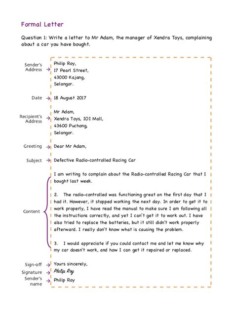 Official Letter Questions Formal Letter Format Exles Exercises