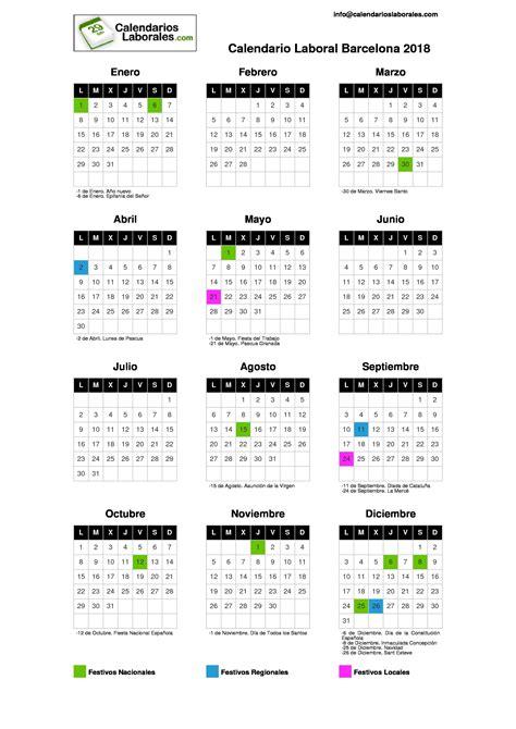 Calendario Laboral Calendario Laboral Barcelona 2018