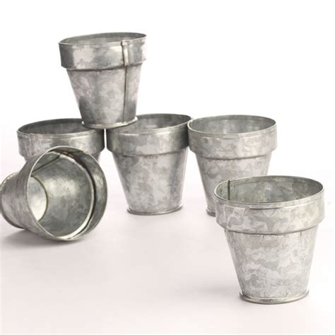 Small Galvanized Flower Pots Small Planter Pots