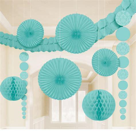 9 x aqua hanging paper party decorations fans honeycombs