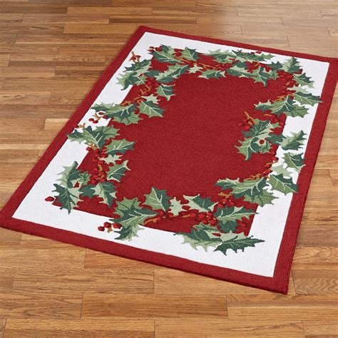 christmas accent rugs holly border hooked holiday area rugs