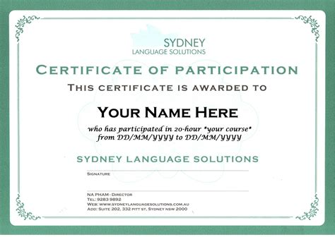 certificate sydney language solutions