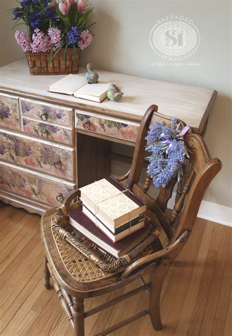 Decoupage A Desk - how to decoupage with napkins salvaged inspirations