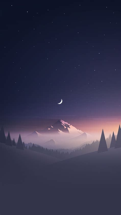wallpaper hd mobile iphone stars and moon winter mountain landscape iphone 6 hd