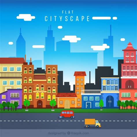 colored houses cityscape with colored houses in flat design vector free