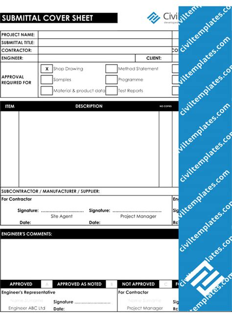 Submittal Cover Sheet Template by Project Management Document Templates Civil Engineering