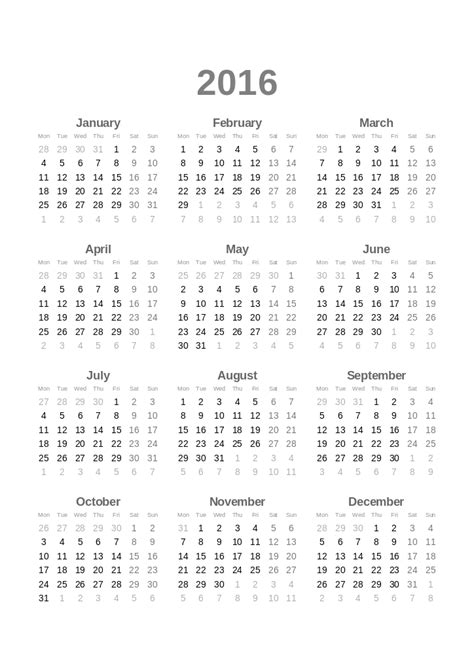 10 Year Calendar File 2016 Calendar Svg Wikimedia Commons