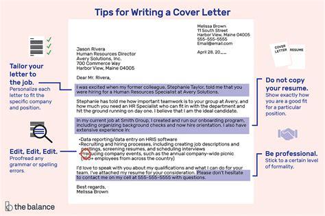 job application letter format writing tips