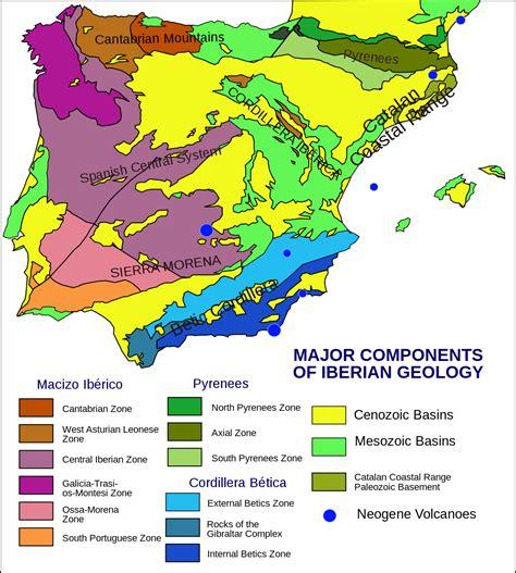 iberian peninsula on map geology of the iberian peninsula