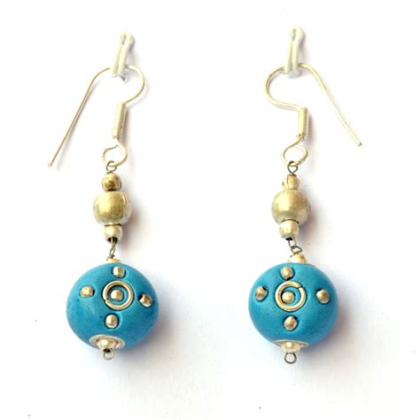 Handmade Ear Rings - handmade earrings blue kashmiri with metal